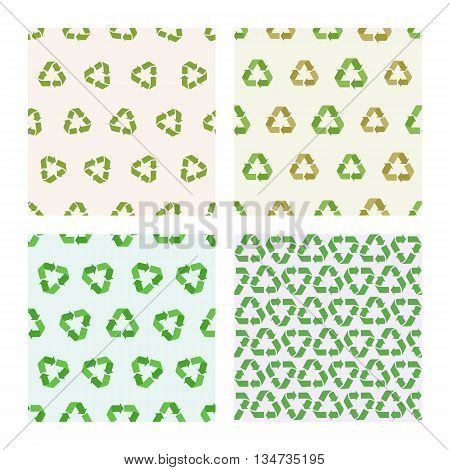 Set of four Seamless vector flat recycle backgrounds. Seamless patterns for eco design. Recycle pattern for packaging, print