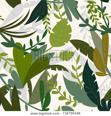 Summer tropical jungle background with palm trees and leaves. Seamless pattern. Cartoon vector illustration