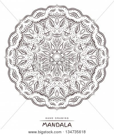 Mandala for coloring. Vector Beautiful Deco MandalaEthnic decorative elements. Patterned Design ElementColoring book. Vector illustration.