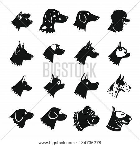 Dog Icons set in simple style isolated on white background