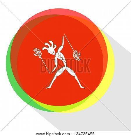 ethnic little man with fire poi. Internet template. Vector icon.