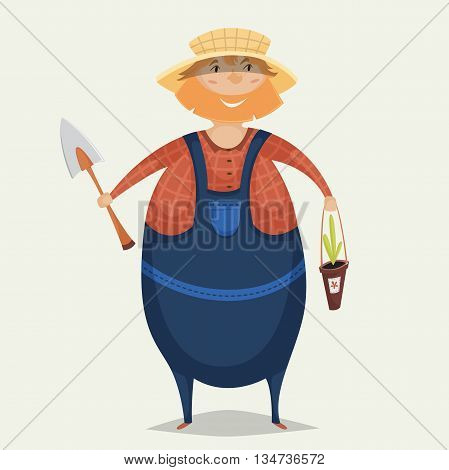 Farmer with shovel and plant. Funny cartoon character. Vector illustration