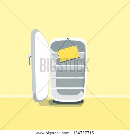 Opened empty broken fridge vector illustration in cartoon style. Broken fridge standing in front of yellow wall. Sign board hanging on a broken old fridge.