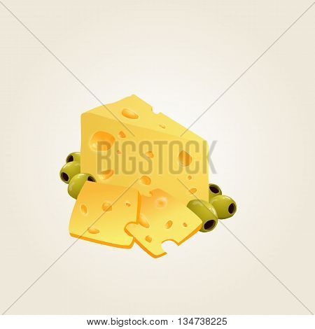 Triangular piece of cheese, cheese icon 3d, cheese realistic food, Vector illustration.