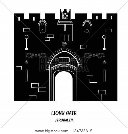 Lion Gate in Old City of Jerusalem. Black and white vector illustration. EPS 8