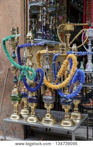 Shisha pipes hookah. traditional smoke shisha ia Cairo.