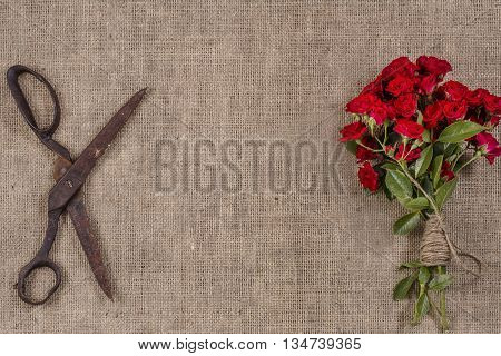 Grange Photo Of Bouquet Of Red Roses And Old Rusty Scissors