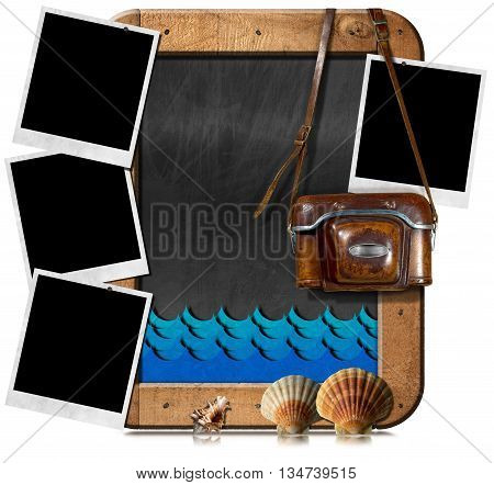 Old camera four instant photo frames an empty blackboard (3D illustration) with blue waves and seashells. Isolated on white