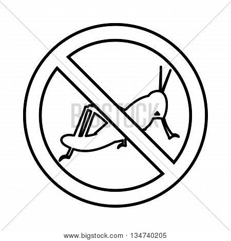 No locust sign icon in outline style isolated on white background