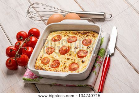 cake with ricotta cheese and tomatoes