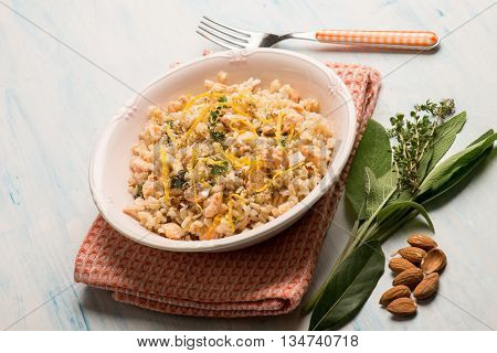 risotto with fresh salmon almond and lemon peel