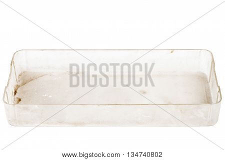 Top view of old grungy plastic box isolated on white background