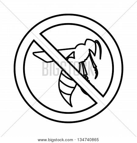 No wasp sign icon in outline style isolated on white background