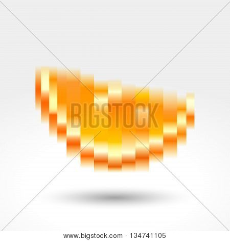 Оrange slice gradient pixels, vector illustration abstract motion blur.
