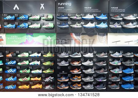 KUALA LUMPUR, MALAYSIA - MAY 09, 2016: inside Adidas store in Suria KLCC. Suria KLCC is located in the Kuala Lumpur City Centre district. It is in the vicinity of the landmark the Petronas Towers.