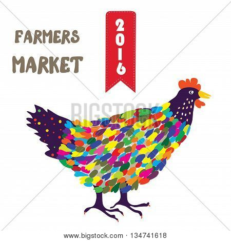 Banner for the farmers product with hen funny design. Vector graphic illustration