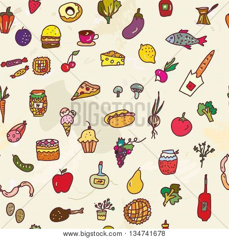 Food seamless graphic pattern funny design. Sketchy vector illustration for the menu or card.