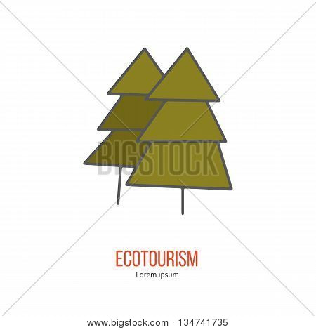 Coniferous tree. Ecotourism colorful flat design element isolated on a white background. Emblem, design concept, logo, logotype template. Hand drawn doodle vector illustration.