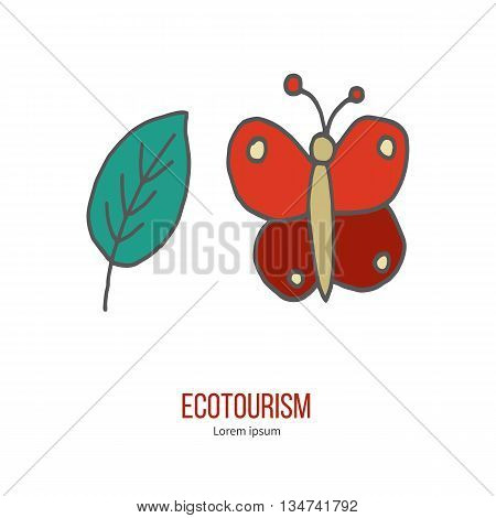 Butterfly and leaf. Ecotourism colorful flat design element isolated on a white background. Emblem, design concept, logo, logotype template. Hand drawn doodle vector illustration.
