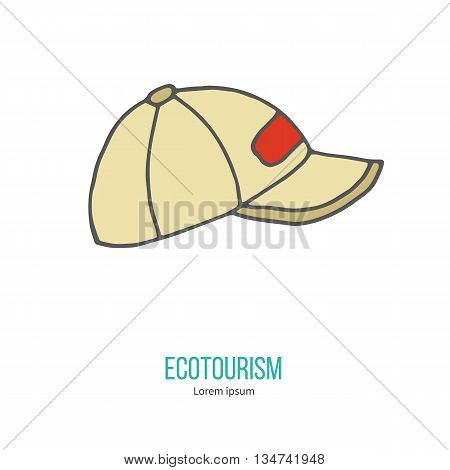Baseball hat or cup. Ecotourism colorful flat design element isolated on a white background. Emblem, design concept, logo, logotype template. Hand drawn doodle vector illustration.
