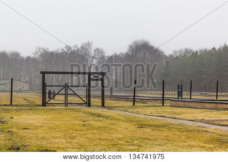 SZTUTOWO, POLAND - MARCH 18: Gate in the Nazi concentration camp in Sztutowo on March 18, 2012 in Sztutowo.