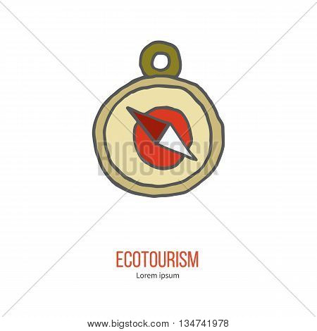 Compass. Ecotourism colorful flat design element isolated on a white background. Emblem, design concept, logo, logotype template. Hand drawn doodle vector illustration.