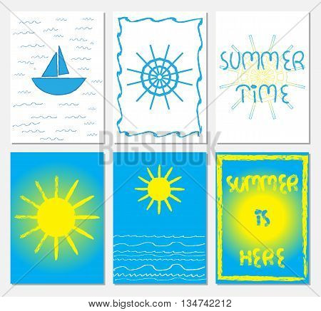 Collection of A4 format illustrations in navy style with steering weel boat sun sea waves letttering. Summer time Summer is hear text. Blue white yellow colors.