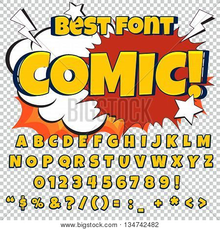 Comic blue alphabet set. Letters, numbers and figures for kids' illustrations websites comics banners.