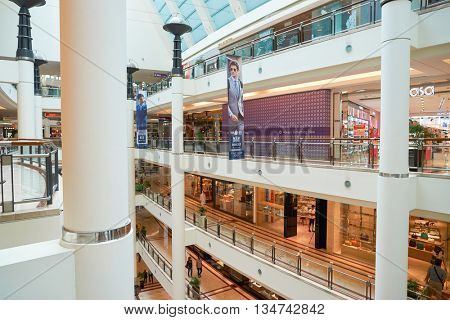 KUALA LUMPUR, MALAYSIA - MAY 09, 2016: inside of Suria KLCC. Suria KLCC is a located in the Kuala Lumpur City Centre district. It is in the vicinity of the landmark the Petronas Towers.