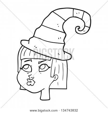freehand drawn black and white cartoon witch