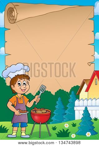Barbeque theme parchment 1 - eps10 vector illustration.