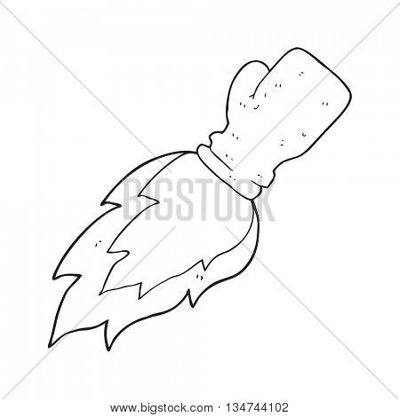 freehand drawn black and white cartoon boxing glove flaming punch