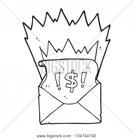 freehand drawn black and white cartoon abusive letter