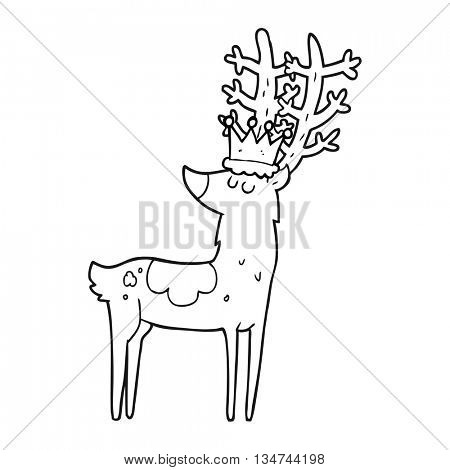 freehand drawn black and white cartoon stag king
