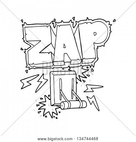 freehand drawn black and white cartoon electrical switch zapping