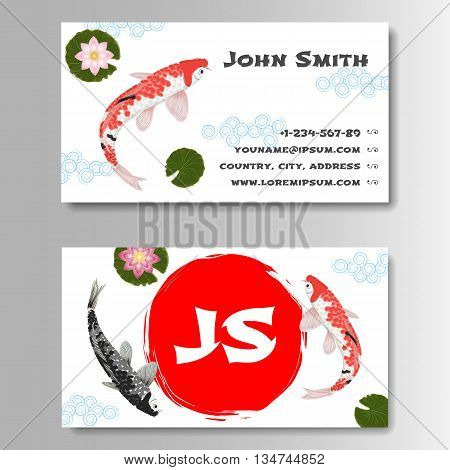 Template for business card with sun and carp koi in Japanese style. Vector illustration
