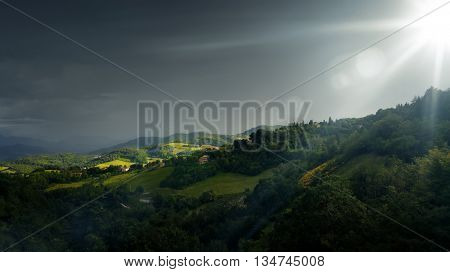 An image of bad weather landscape at Urbino Italy