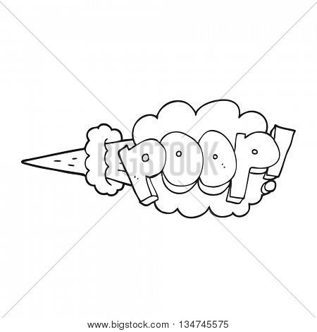 freehand drawn black and white cartoon poop explosion