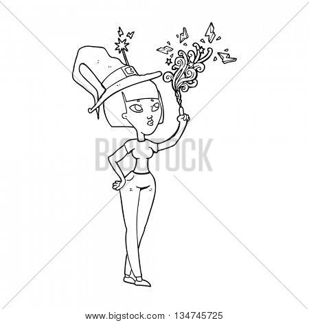 freehand drawn black and white cartoon witch casting spell
