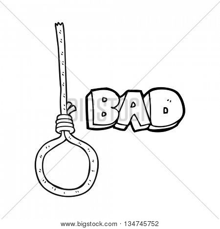 freehand drawn black and white cartoon noose