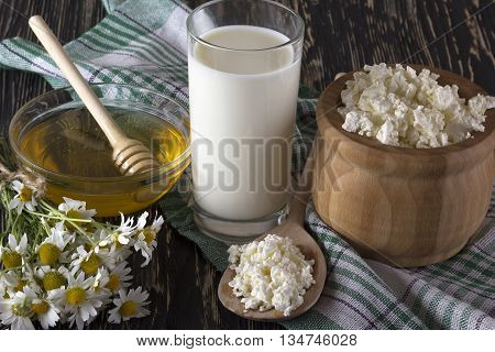 Honey, cottage cheese, glass with milk and chamomile flowers on wooden background