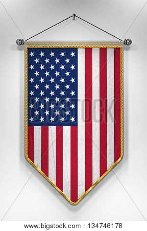 Pennant with USA flag. 3D illustration with highly detailed texture.
