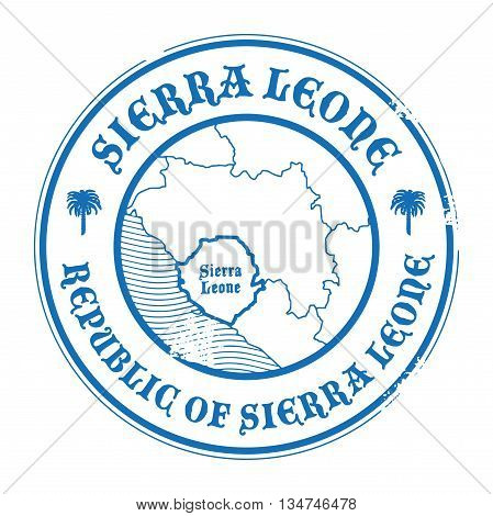 Grunge rubber stamp with the name and map of Sierra Leone, vector illustration