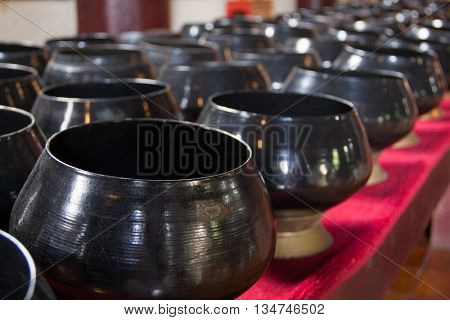 Buddhist bowl for donations in the temple