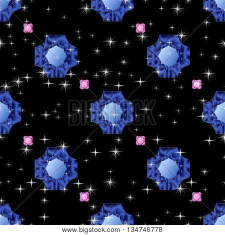 Diamonds seamless pattern. Vector illustration jewerly. Abstract diamond vector background. Jem seamless pattern. Seamless background, brilliant jewels sapphire