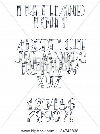 Freehand hand drawn font with english letters from a to z numbers from 0 to 9. Alphabet sequence drawn with dots strokes and lines in freehand style. Vector isolated illustration isolated on white.