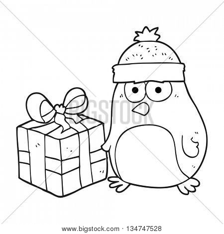 freehand drawn black and white cartoon christmas robin
