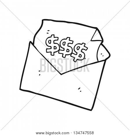 freehand drawn black and white cartoon bill letter