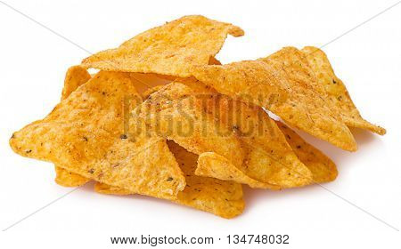 Mexican nachos chips isolated on white background.