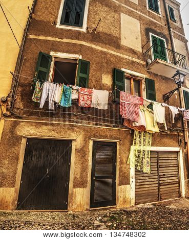 laundry line in an old town in Italy
